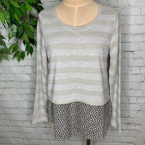 Love Riche Long Sleeve Striped Floral Blouse Med